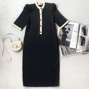 St. John Marie Gray Knitted Button Down Dress